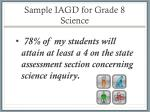 sample iagd for grade 8 science