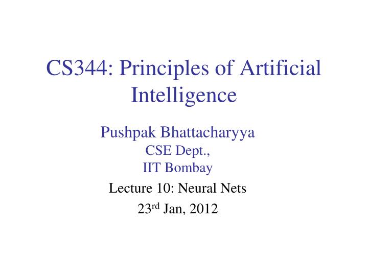 cs344 principles of artificial intelligence n.