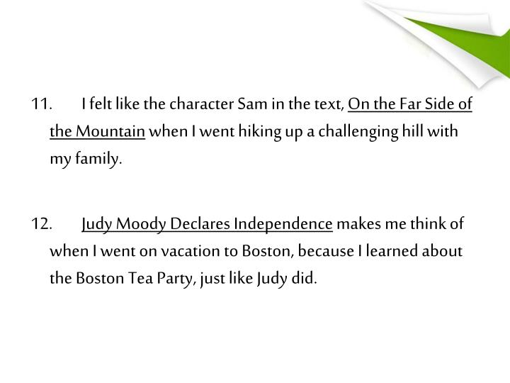 11.I felt like the character Sam in the text,