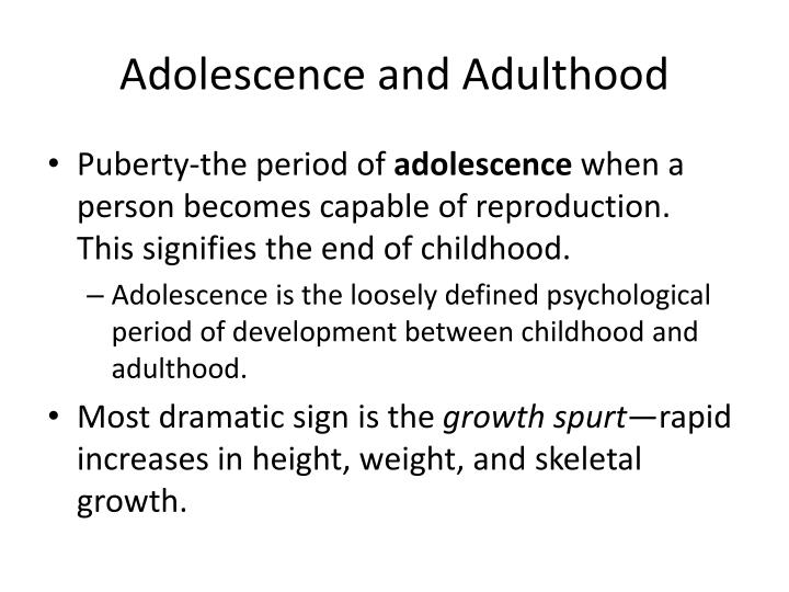 adolescence and adulthood essay Adolescence and adulthood the psychosocial development stage during adolescence is the search for identity psychosocial development includes the way.