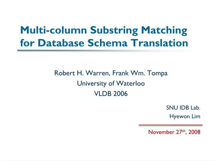 multi column substring matching for database schema translation n.