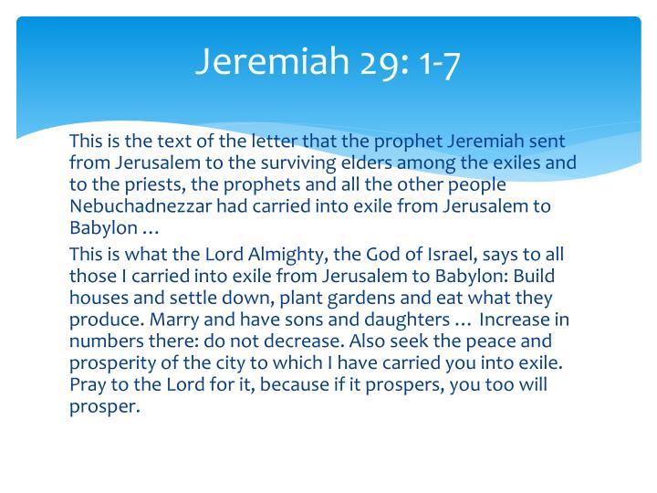 Jeremiah 29 1 7