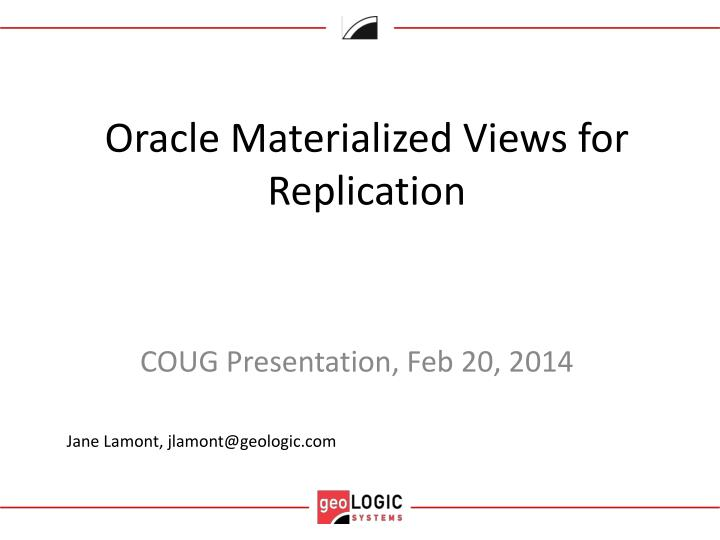 oracle materialized v iews for replication n.