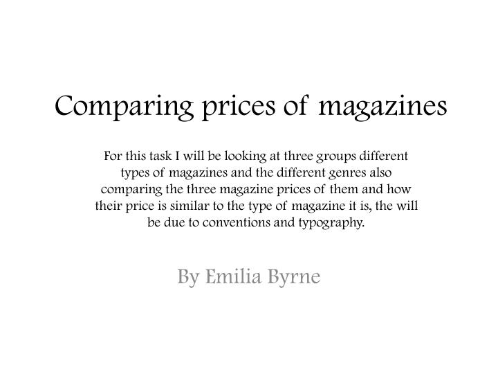 comparing prices of magazines n.