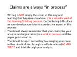 claims are always in process