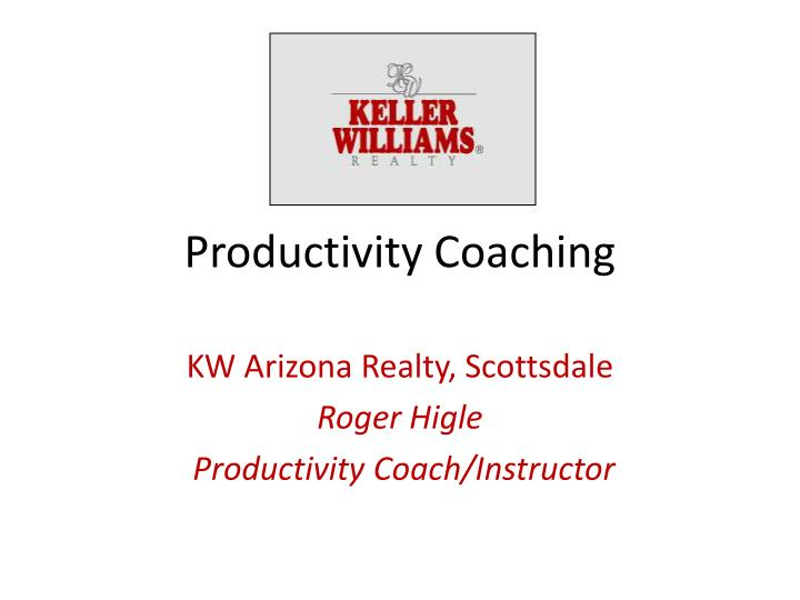 productivity coaching n.