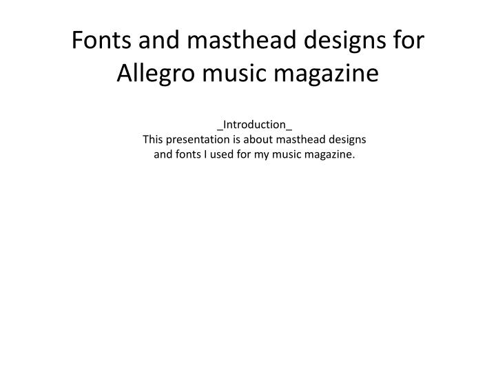 fonts and masthead designs for allegro music magazine n.