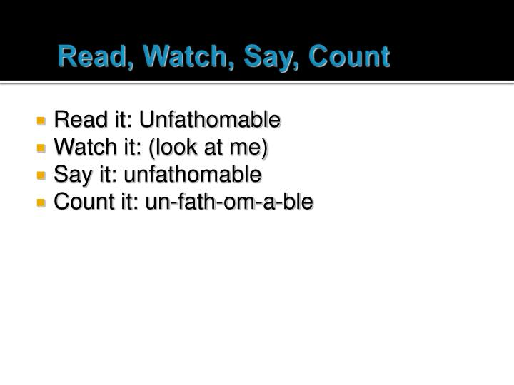 Read watch say count