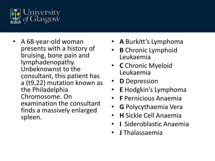 A 68-year-old woman presents with a history of bruising, bone pain and