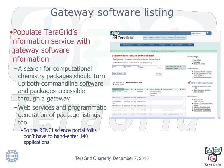 Gateway software listing