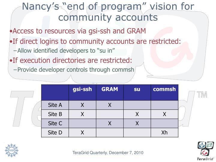"Nancy's ""end of program"" vision for community accounts"