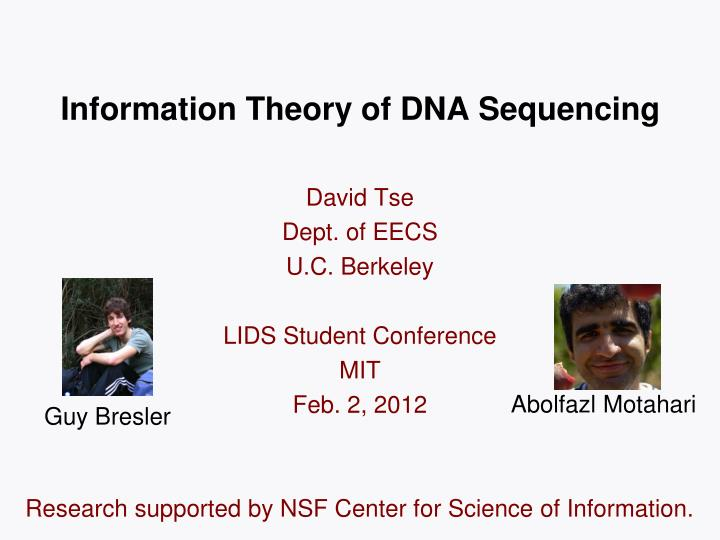 information theory of dna sequencing n.