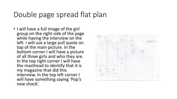 Double page spread flat plan