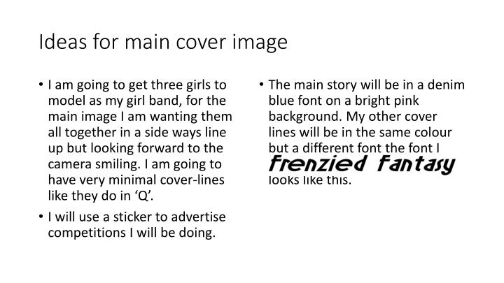 Ideas for main cover image