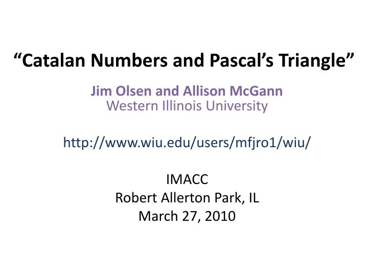 catalan numbers and pascal s triangle n.