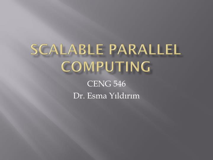 scalable parallel computing n.