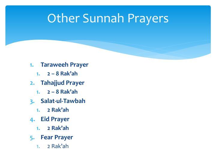 Other Sunnah Prayers