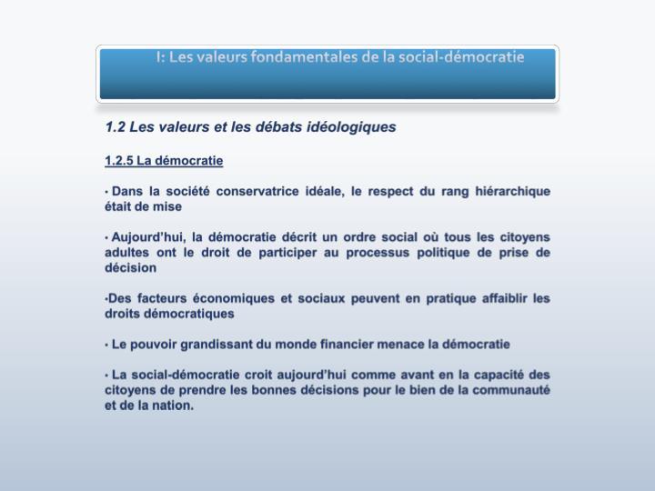 I: Les valeurs fondamentales de la social-démocratie