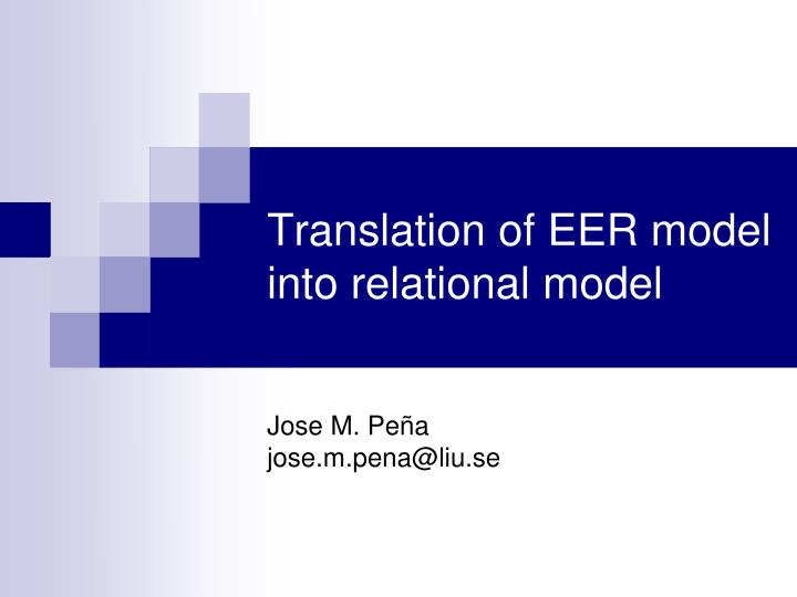 translation of eer model into relational model n.
