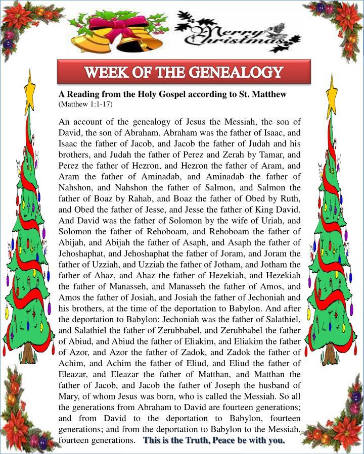 WEEK OF THE GENEALOGY