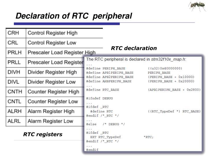 Declaration of RTC  peripheral