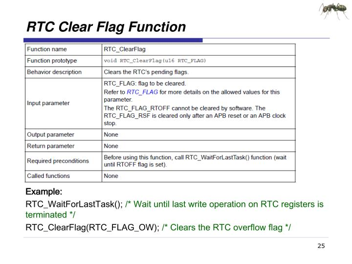 RTC Clear Flag Function