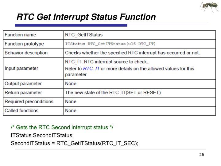 RTC Get Interrupt Status Function