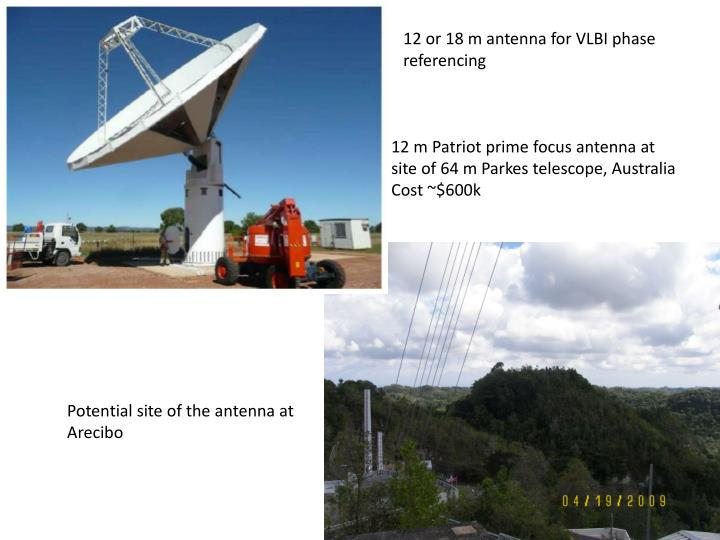 12 or 18 m antenna for VLBI phase referencing