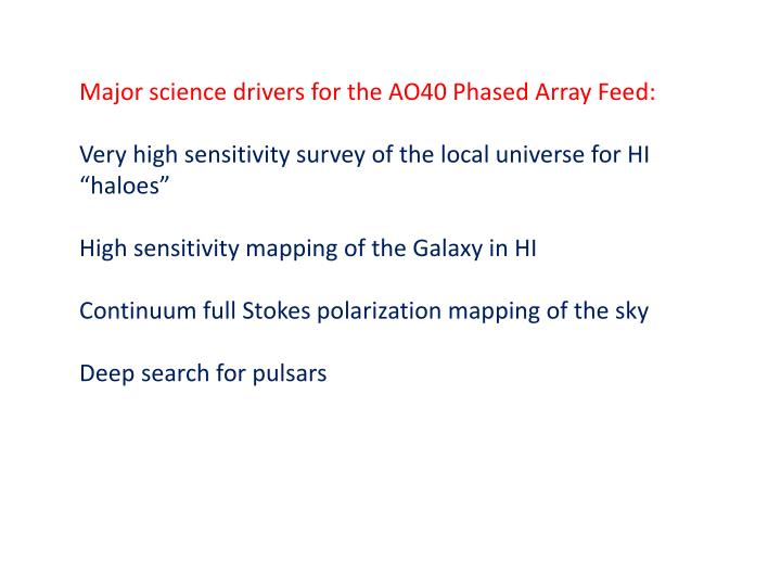 Major science drivers for the AO40 Phased Array Feed: