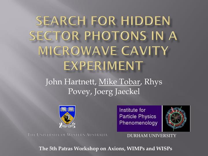 search for hidden sector photons in a microwave cavity experiment n.