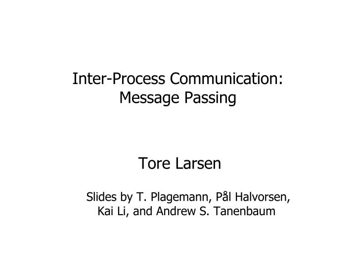 inter process communication message passing n.