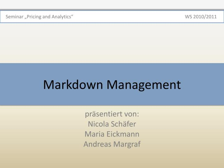 markdown management n.