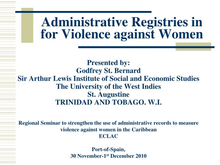 administrative registries in for violence against women n.