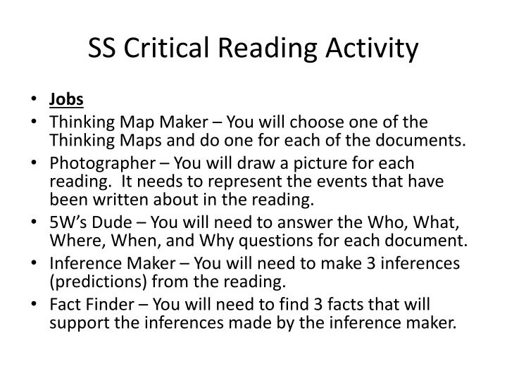 ss critical reading activity n.