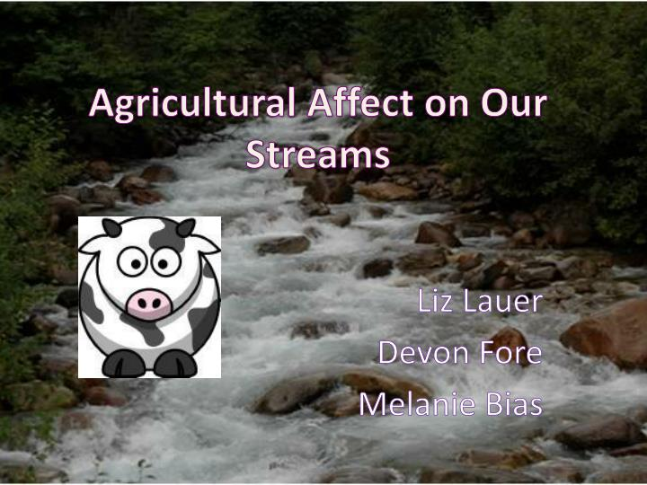 agricultural affect on our streams n.