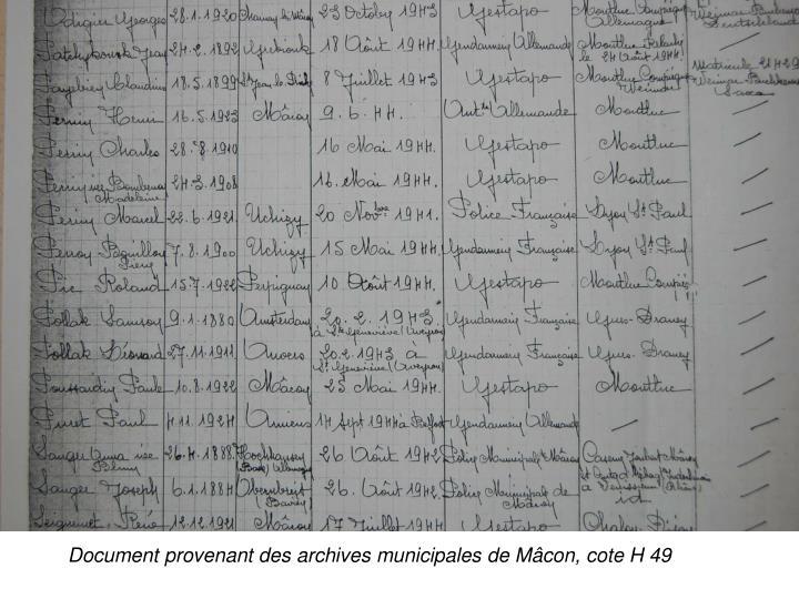 Document provenant des archives municipales de Mâcon, cote H 49