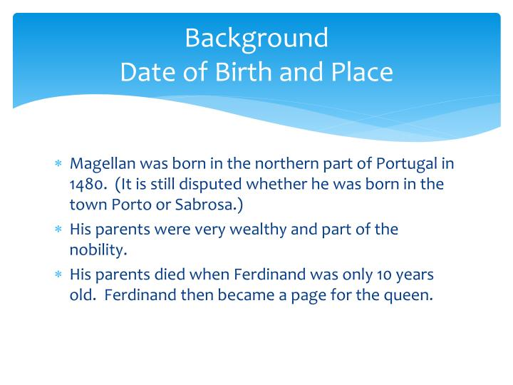 Background date of birth and place