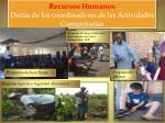 recursos humanos dietas de los coordinadores de las actividades comunitarias