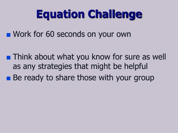 Equation Challenge