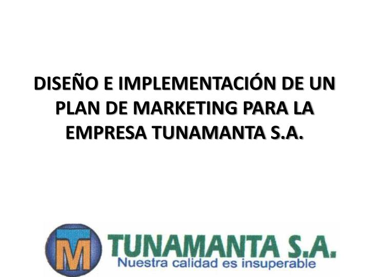 dise o e implementaci n de un plan de marketing para la empresa tunamanta s a n.