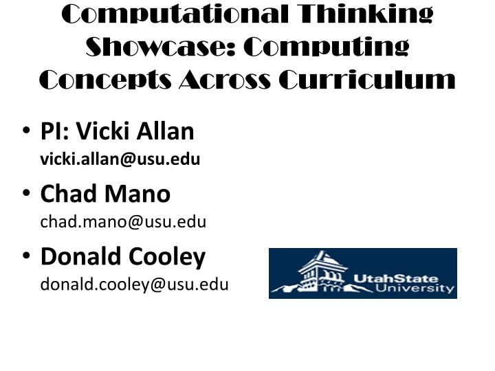 computational thinking showcase computing concepts across curriculum n.