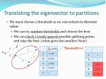 translating the eigenvector to partitions1