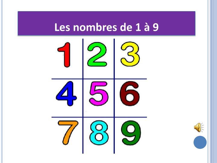 Les nombres de 1 à 9