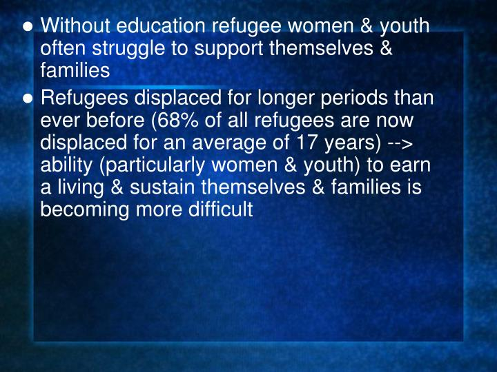 Without education refugee women & youth often struggle to support themselves & families