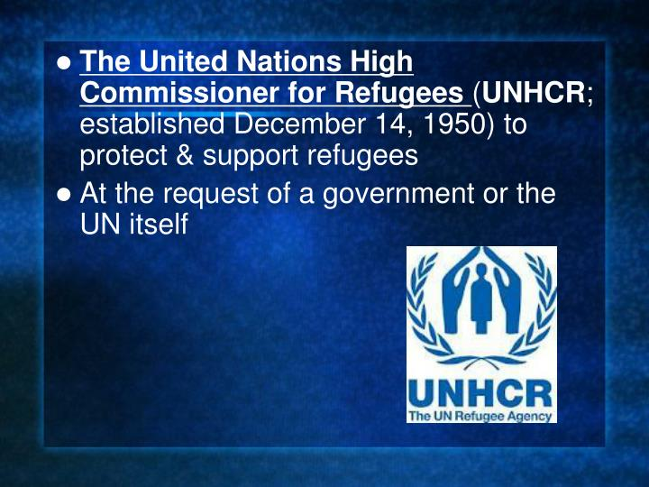 The United Nations High Commissioner for Refugees