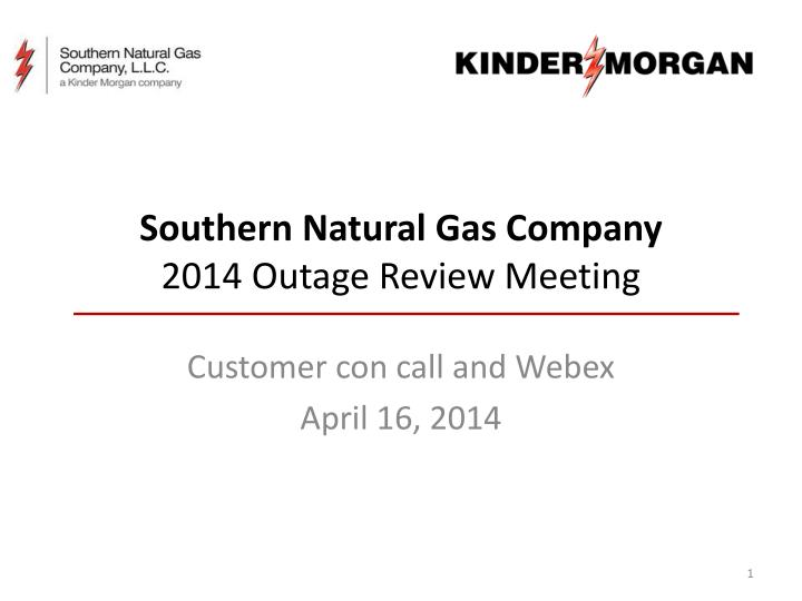 southern natural gas company 2014 outage review meeting n.