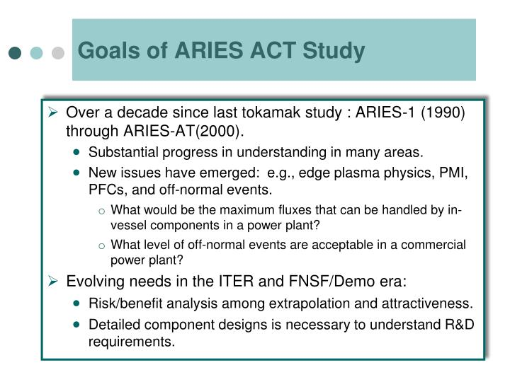 Goals of aries act study
