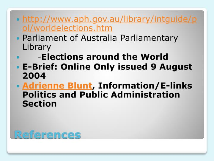 http://www.aph.gov.au/library/intguide/pol/worldelections.htm