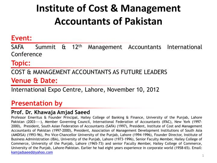 Institute of cost management accountants of pakistan