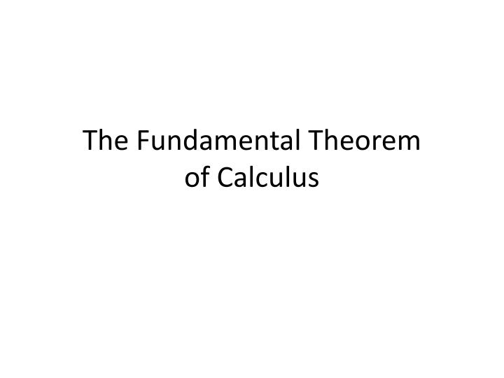 the fundamental theorem of calculus n.